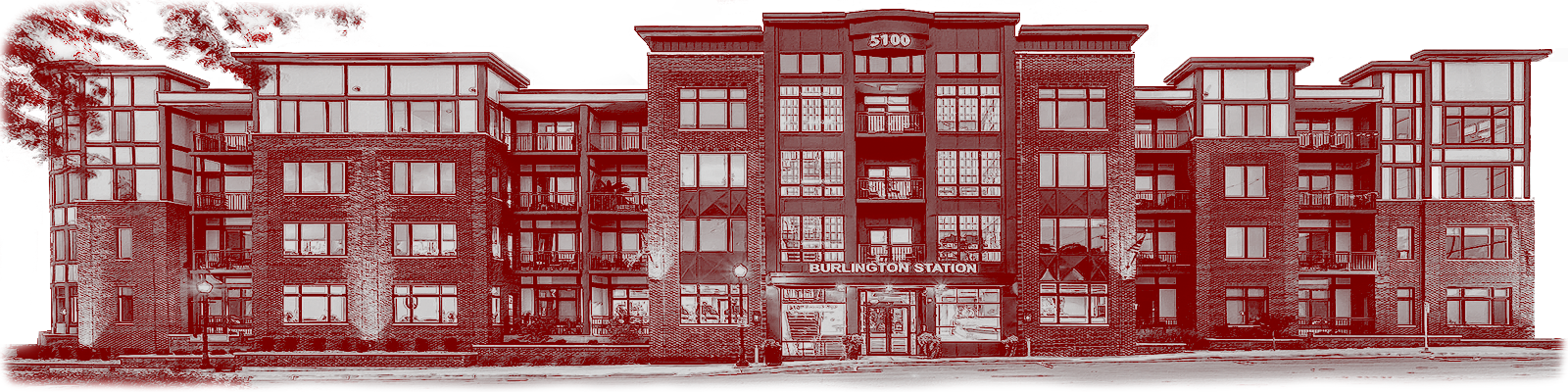 A red, bi-tonal image rendering of 5100 Forest Ave, commonly known as Burlington Crossing.