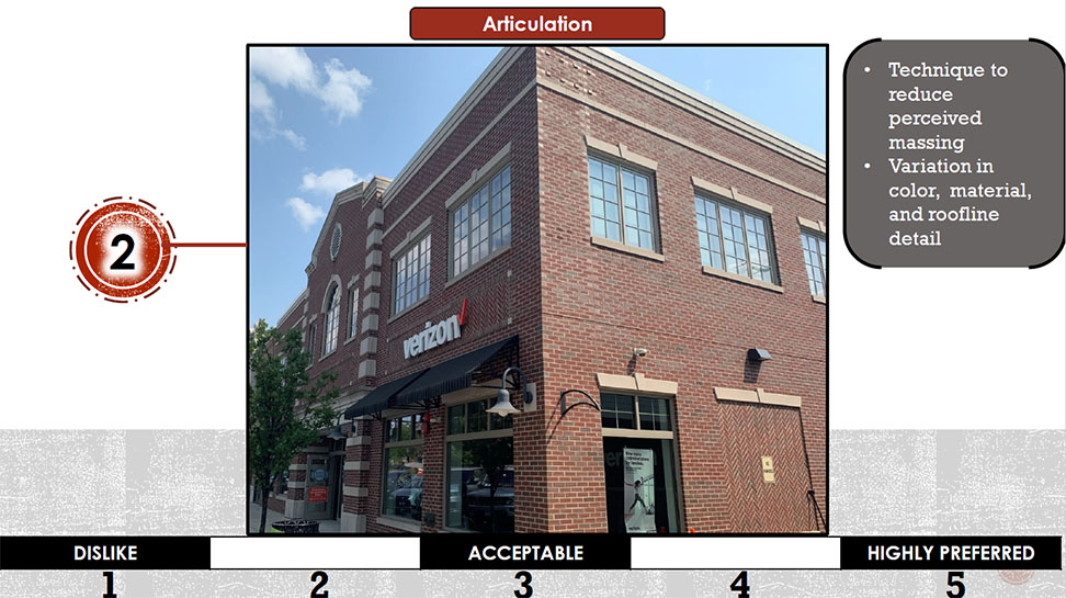 A brick building that shows how to articulate the variation, color, material, and roofline details.