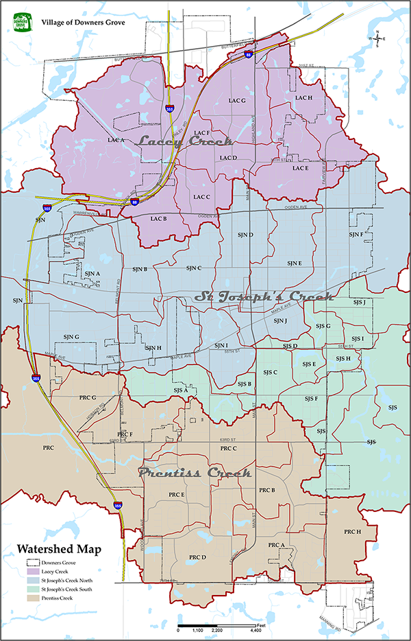 A map of all the watershed areas within the Village boundaries.