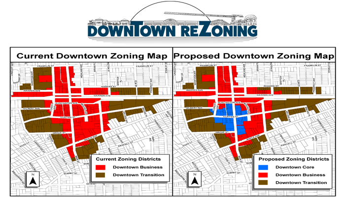 View a PDF map for the downtown zoning.