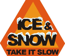 Caution sign for snow and ice.