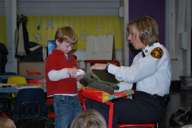 Marsha Giesler at work with pre-school students.