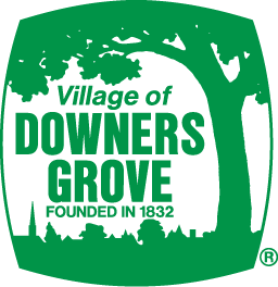 A green logo with a tree and the text Village of Downers Grove founded in 1832.