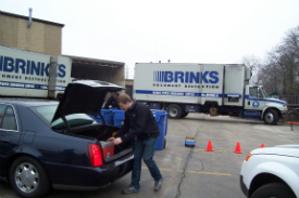 Event volunteers helped to unload vehicles.