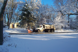 Snow plow in action.